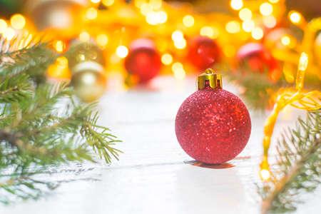 Beautiful christmas decoration on old white, wooden background. Christmas decoration concept Stockfoto