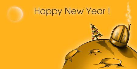 moonwalk: New Years card with moon