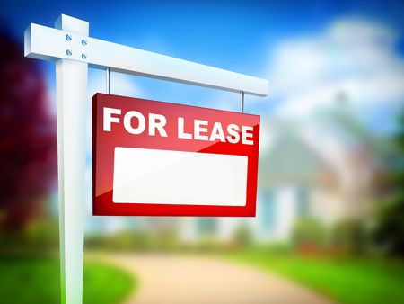 property development: For Lease - Real Estate Tablet Stock Photo