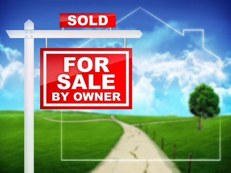 property owners: For Sale by Owner - Sold- Real Estate Tablet Stock Photo
