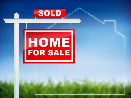 home for sale: Home For Sale - Sold - Real Estate Tablet Archivio Fotografico