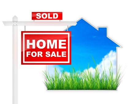 estate: Home For Sale - Sold - Real Estate Tablet Stock Photo