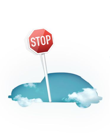 Silhouette of Car with Traffic Sign � Stop photo