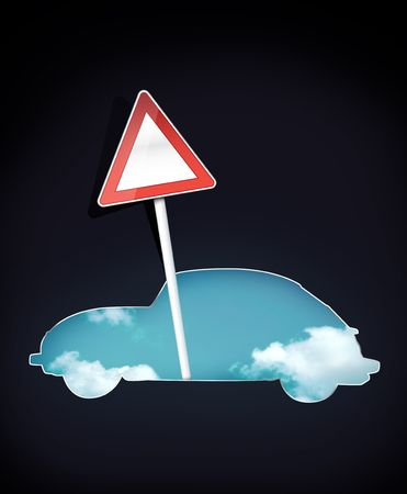 Silhouette of Car with Blank Traffic Sign photo