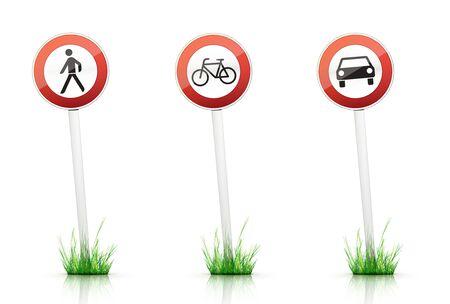 grass plot: Traffic Sign  Stock Photo
