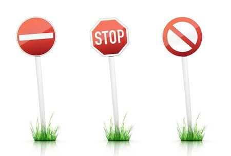 grass plot: Traffic Sign  Stop  Stock Photo