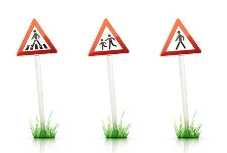 grass plot: Warning Traffic Sign on White Background Stock Photo