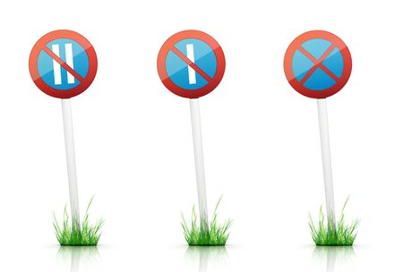 grass plot: Warning Traffic Sign on White Background Stock Photo