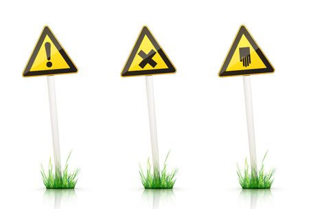 grass plot: Warning Sign on White Background Stock Photo