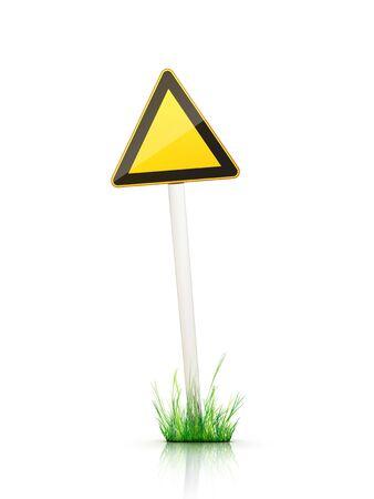 grass plot: Blank Traffic Sign