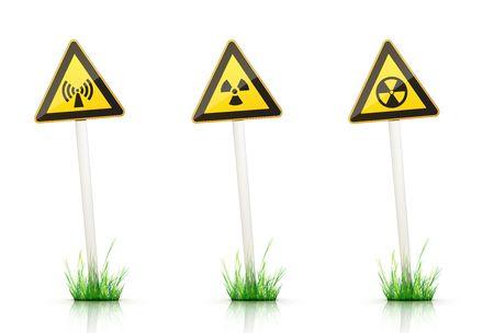 irradiation: Warning Sign on White Background Stock Photo