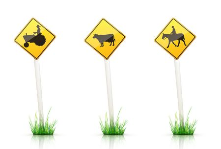 yellow tractors: Warning Traffic Sign on White Background Stock Photo