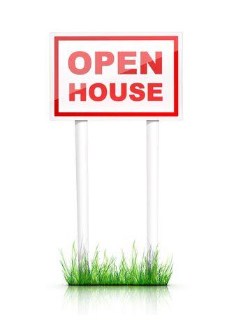 open huis: Artwork voor onroerend goed - Teken Open huis  Stockfoto