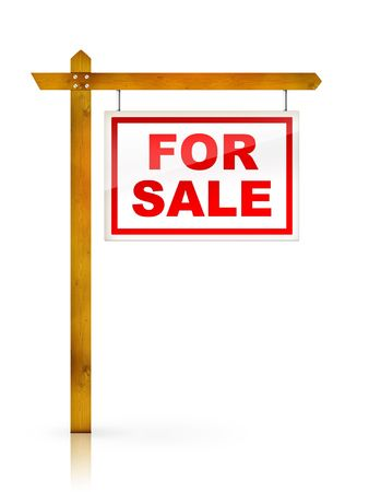 property development: Artwork For Real Estate  - Sign For Sale Stock Photo