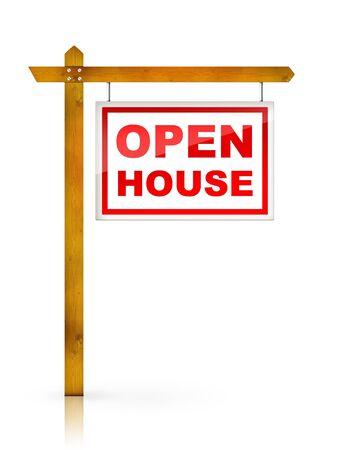 open huis: Kunst werk voor Real Estate - Sign open huis