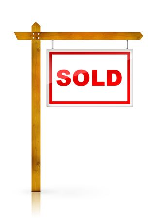 estate: Artwork For Real Estate  - Sign Sold Stock Photo