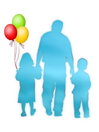 Silhouette of Family on the White Background photo