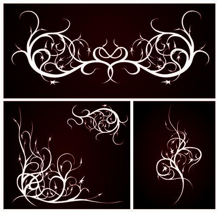 スワール: ベクトルの抽象的な渦巻。暗い背景にエレガントなシルエット。  イラスト・ベクター素材