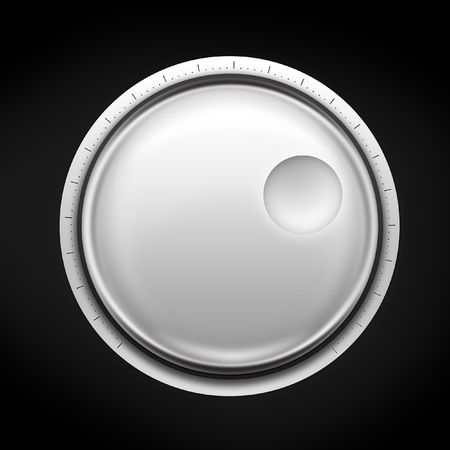 volume knob: Volume Control on the black background. 2D artwork. Computer Designe