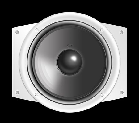 loudspeaker: acoustic system - loudspeaker on the black background. 2D graphics, computer designe Stock Photo
