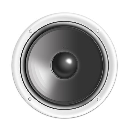 loudspeaker: acoustic system - loudspeaker on the white background. 2D graphics, computer designe Stock Photo