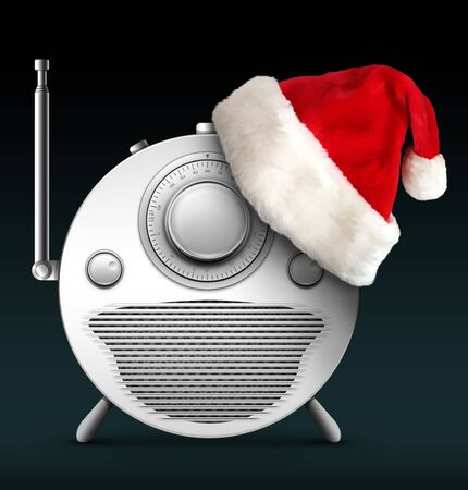 Old Style Radio Christmas and New Year Radio Style. Computer Designe, 2D Graphics photo
