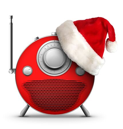 Old Style Radio Christmas and New Year Radio Style. Computer Designe, 2D Graphics