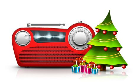Old Style Radio on the White background. Computer Designe, 2D Graphics Stock Photo