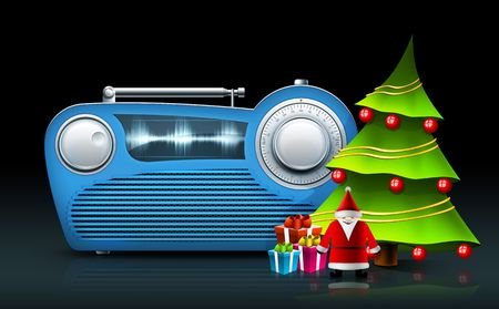 fm: Old Style Radio on the White background. Computer Designe, 2D Graphics Stock Photo