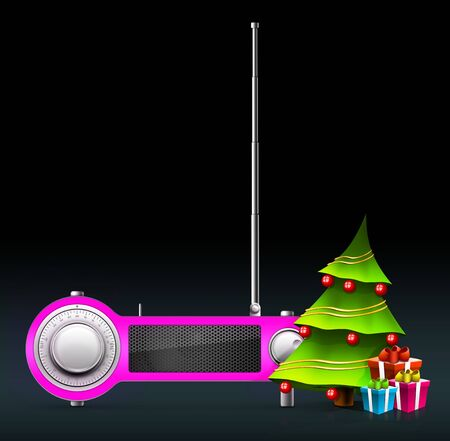 New year and Xmas Radio on the background. Computer Designe, 2D Graphics Stock Photo - 6008327
