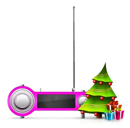 New year and Xmas Radio on the background. Computer Designe, 2D Graphics Stock fotó