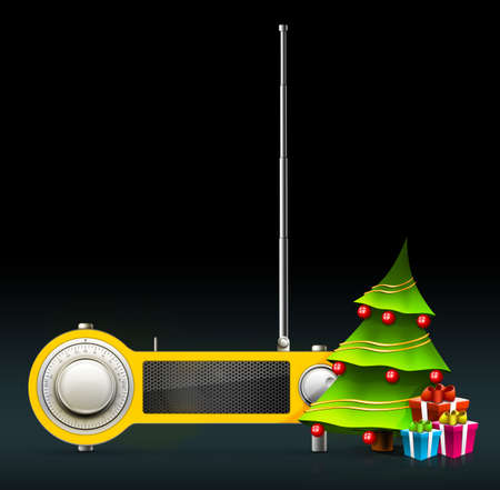 fm: New year and Xmas Radio on the background. Computer Designe, 2D Graphics Stock Photo