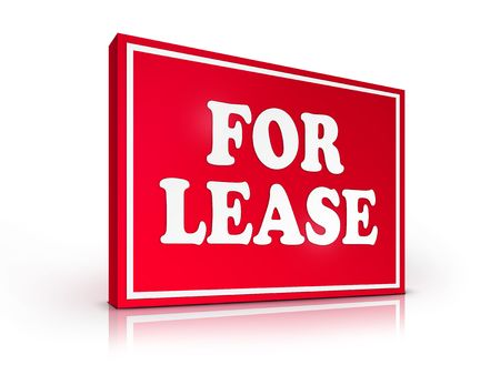 Real Estate Sign - For Lease on White background. 2D artwork. Computer design. Stock Photo - 6371017