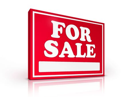 Real Estate Sign � For sale on white background. 2D artwork. Computer Design. Stock Photo - 6371011