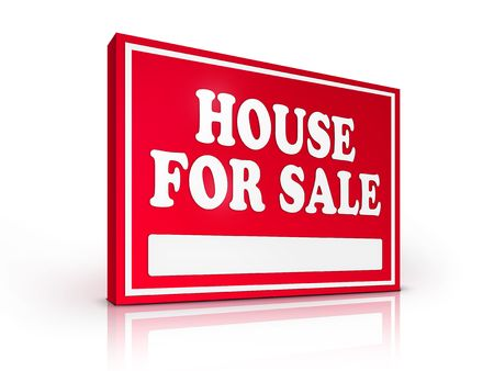 Real Estate Sign – House For sale on white background. 2D artwork. Computer Design. photo