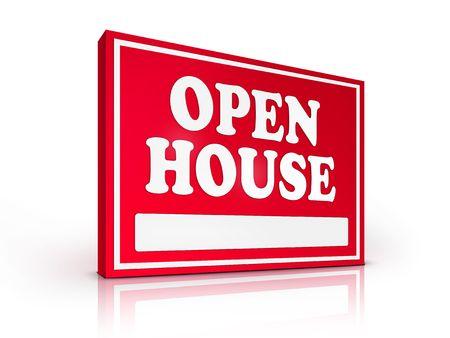open huis: Onroerend goed teken � Open huis op witte achtergrond. 2D illustratie. Computer Design. Stockfoto