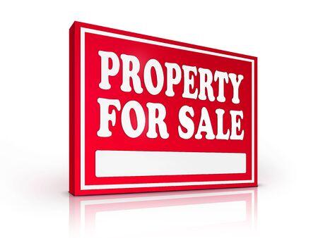 Real Estate Sign � Property For sale on white background. 2D artwork. Computer Design. photo