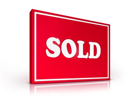 Real Estate Sign – Sold on white background. 2D artwork. Computer Design. Stock Photo - 6371014