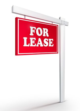 Real Estate Sign - For Lease on White background. 2D artwork. Computer design. Stock Photo - 6371020