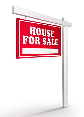 Real Estate Sign � House For sale on white background. 2D artwork. Computer Design. photo