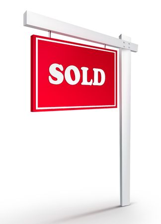 Real Estate Sign – Sold on white background. 2D artwork. Computer Design. Stock Photo - 6371021