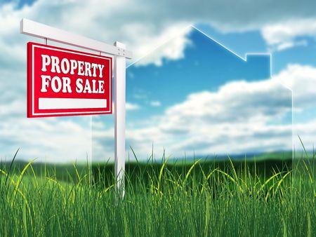 Real Estate Sign – Property For Sale. 2D artwork. Computer Design.