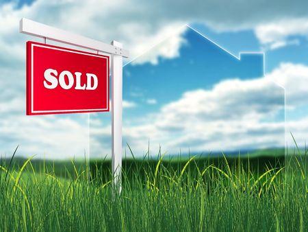property for sale: Real Estate Sign – Sold. 2D artwork. Computer Design.