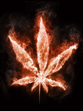 Marijuana in Fire on Black Background. Computer Design. 2D Graphics Stock Photo