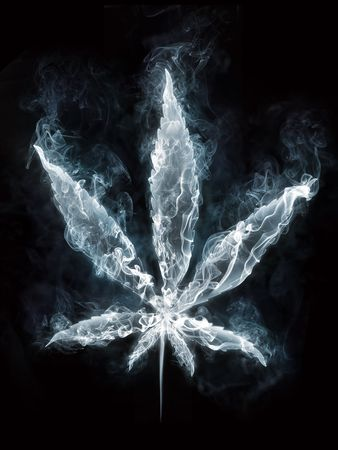 cannabis leaf: Marijuana in Smoke on Black Background. Computer Design. 2D Graphics