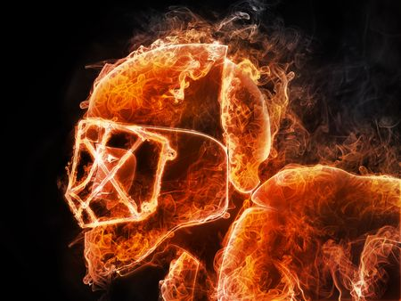 Hockey Player. Fire style on Black backgroound. 2D Graphics. Computer Design. Stock Photo