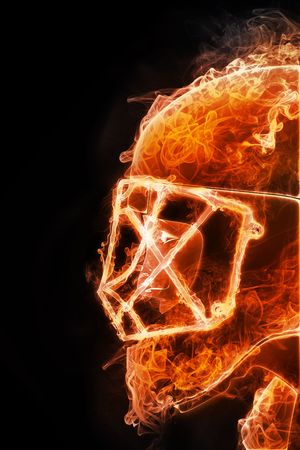 fire helmet: Hockey Player. Fire style on Black backgroound. 2D Graphics. Computer Design. Stock Photo