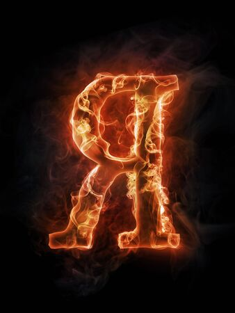 Fire concept. Russian letter I on black background