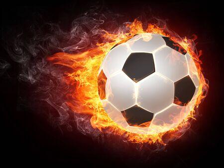 Soccer Ball on Fire. 2D Graphics. Computer Design.