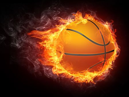 fire symbol: Basketball Ball on Fire. 2D Graphics. Computer Design.